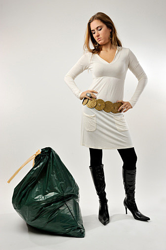 Woman and a trash bag