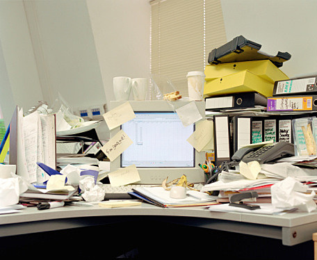 A messy desk at work