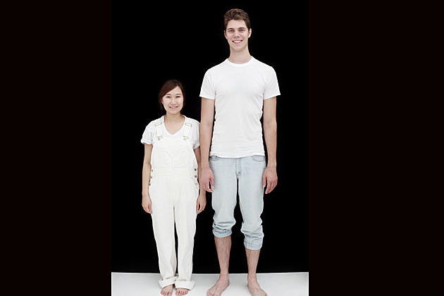 A woman with a tall man