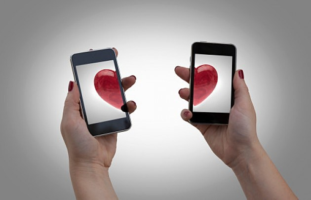 Two mobile phones with hearts