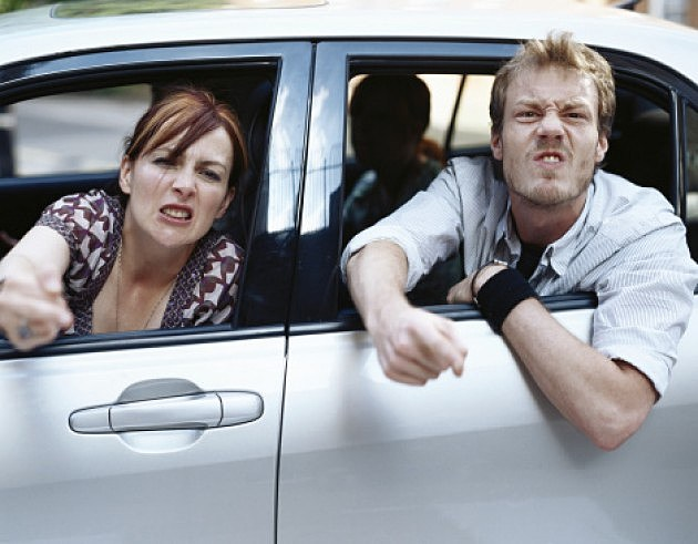 Couple Displaying Road Rage