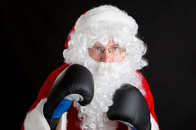 Santa in boxing gloves