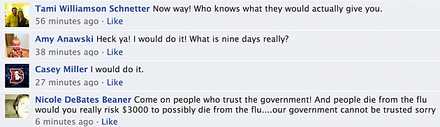 Money for Flu facebook