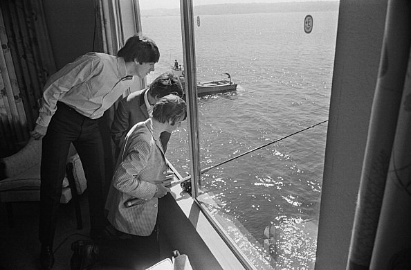 Beatles fishing out hotel window in Seattle
