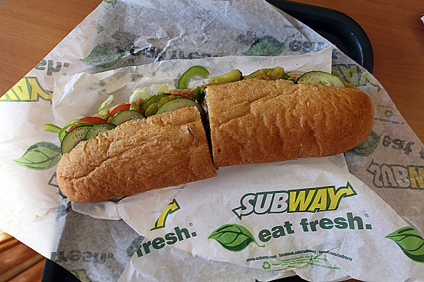 Subway sandwich on October 21, 2015 in Miami, Florida.