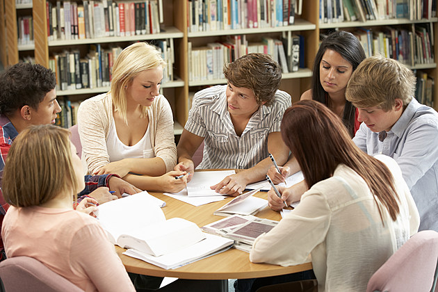 Students working together in library